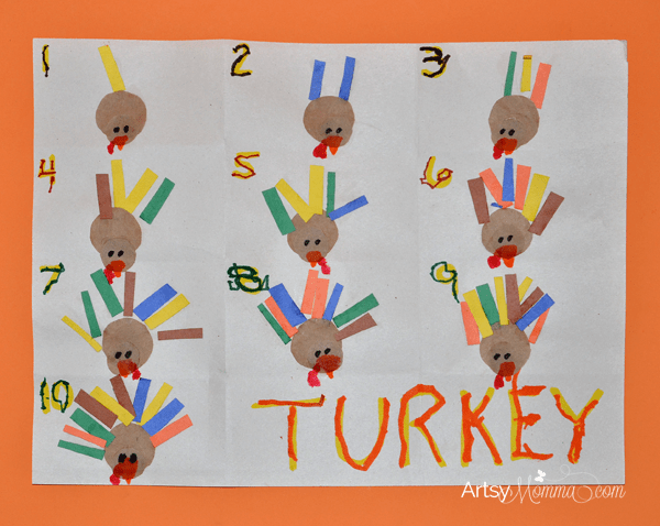 Turkey Crafts For Preschoolers  Feather Counting Activity