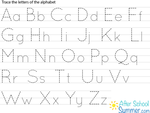 Printable Traceable Alphabet Chart For Upper And Lower Case