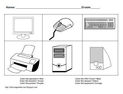 Parts Of Computer For Kids Clipart