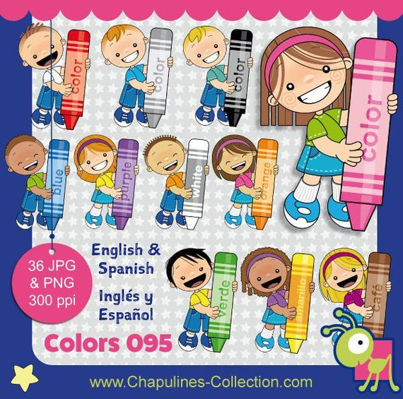 Colors Clipart, Crayons Clipart, English And Spanish, Crayons And