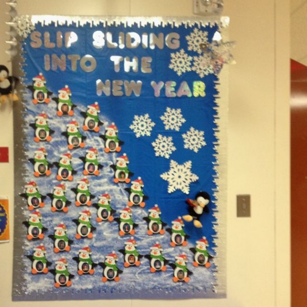 New Year's Penguin Bulletin Board Would Be Cute If Students Made