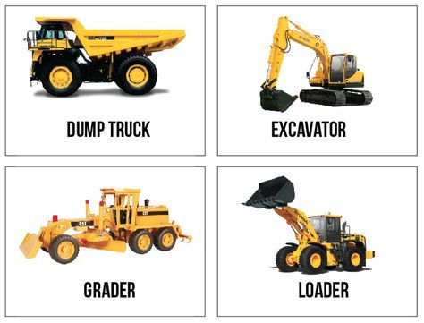 Free Printable Construction Truck Flashcards  (because I Can Never