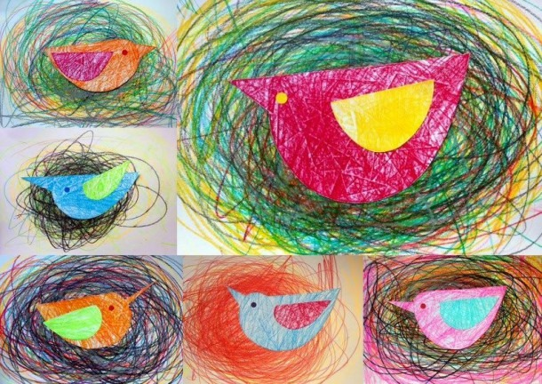 Kindergarten Bird In Nest Using Colorful, Curvy Lines And Colorful