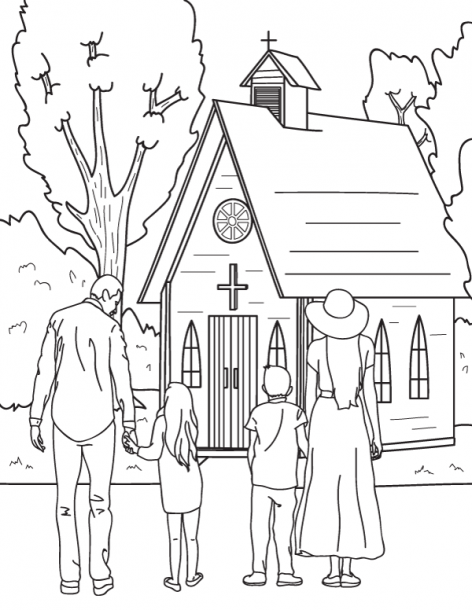 Free Printable Coloring Page Featuring A Family Going To Church