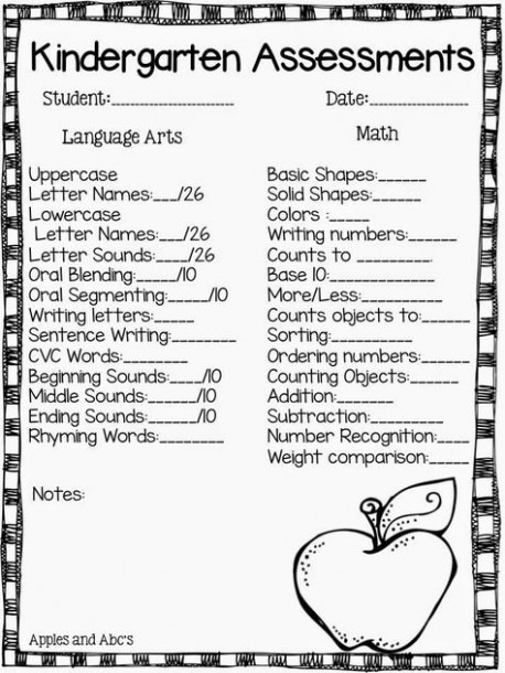 Apples And Abc's  Kindergarten Report Card Assessments