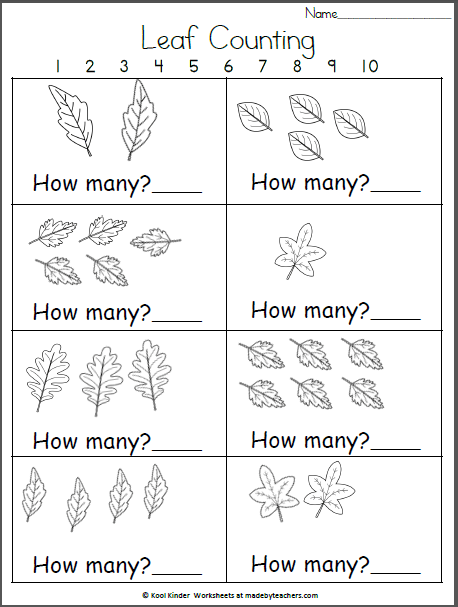 How Many Fall Leaves  Kindergarten Math