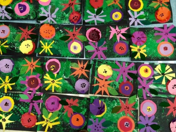 Kindergarten Flower Collages Inspired By Andy Warhol Painting