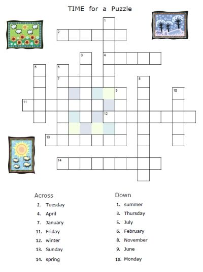 Free Time Seasons Days Months Puzzle Worksheet In Spanish For Kids
