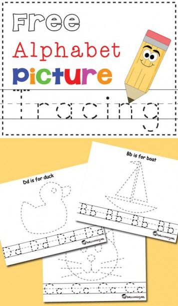 Free Alphabet Picture Tracing Pages