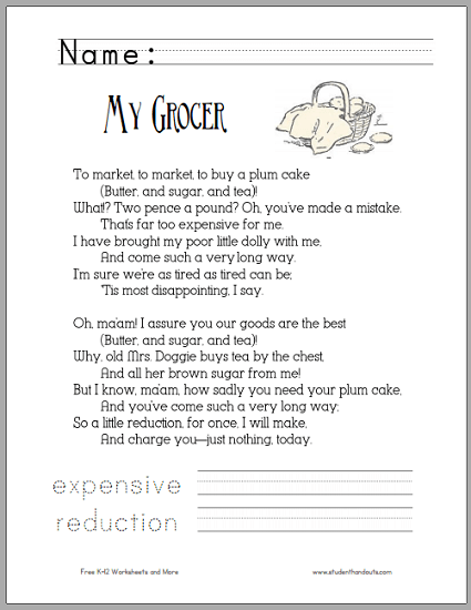 My Grocer  Poetry Worksheet For Children