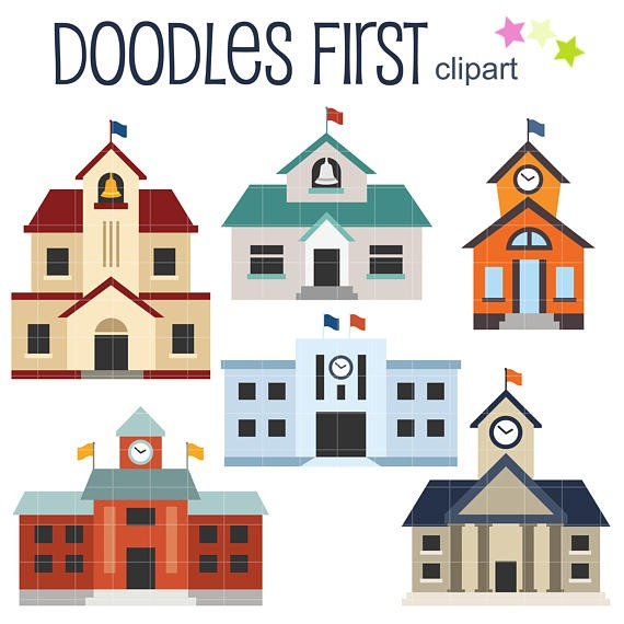School Buildings Digital Clip Art For Scrapbooking Card Making