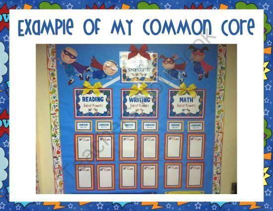 Kindergarten Common Core  I Can  Statements And Superhero Poster