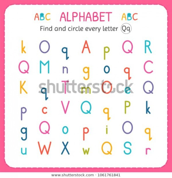 Find Circle Every Letter Q Worksheet Stock Vector (royalty Free