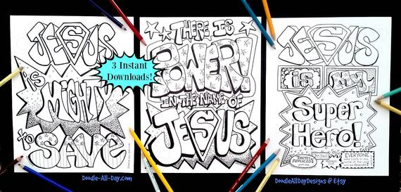 Superhero Set Of 3 Coloring Printables