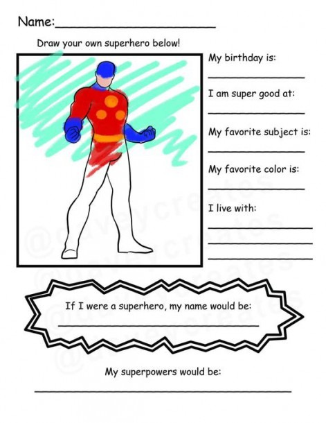 Back To School Superhero Get To Know You Coloring Worksheet