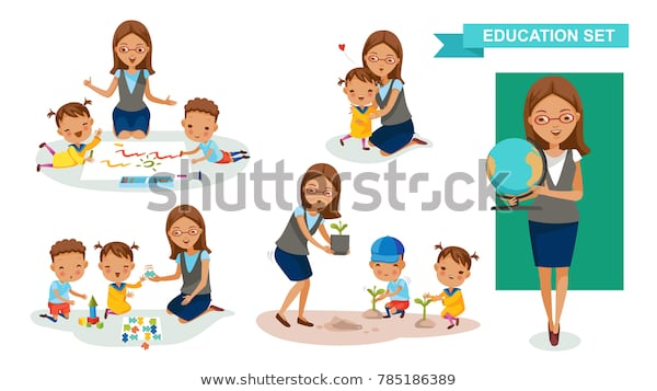 Kindergarten Teacher Women Education Set Drawing Stock Vector