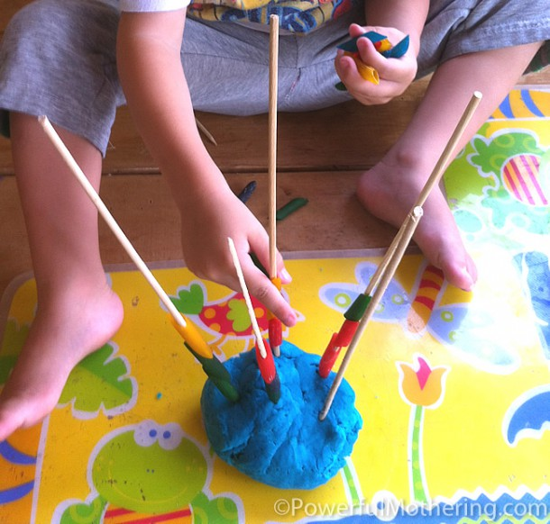 Fine Motor Skills With Pasta And Play Dough
