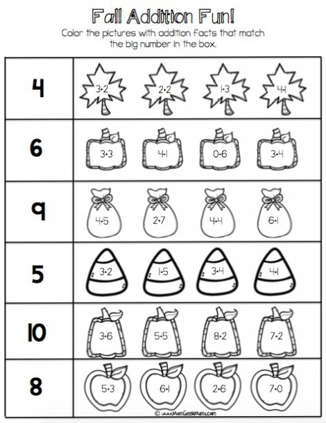Fall Addition Facts Practice! {free Printables!}