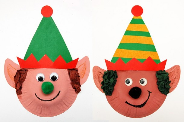 Paper Plate Christmas Elves