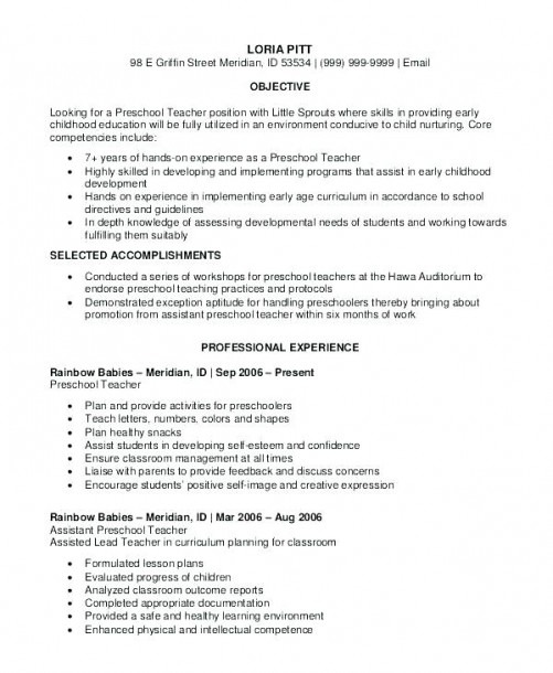 Lead Teacher Resume