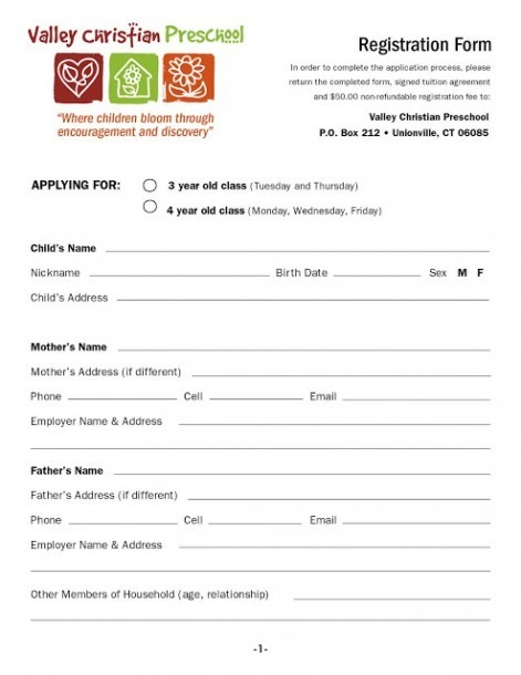 Kindergarten Registration Form Template