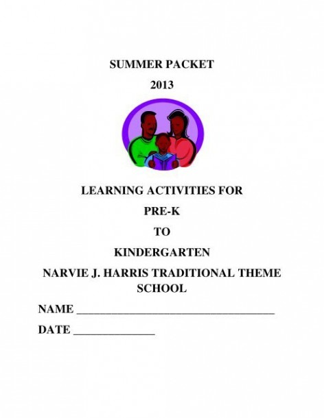 Summer Packet 2013 Learning Activities For Pre