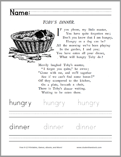 Toby's Dinner Poem Worksheet
