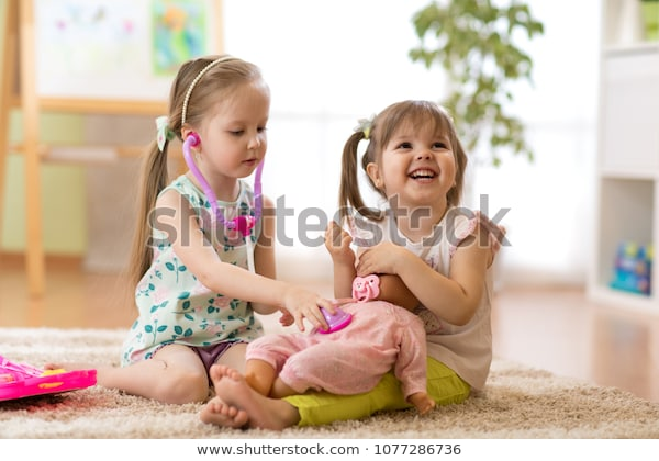 Two Children Kids Friends Playing Doctor Stock Photo (edit Now