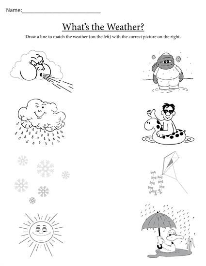 What's The Weather   Printable Matching Worksheet
