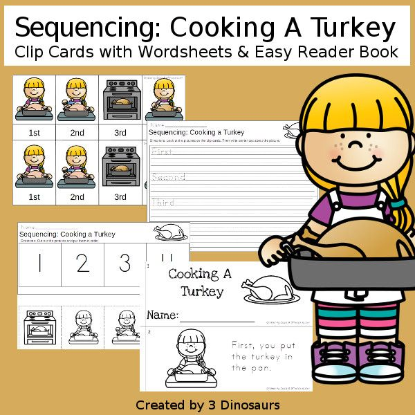 First Thanksgiving & Cooking A Turkey  Sequencing Sets For