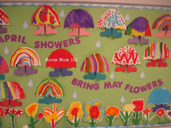 April Showers Bring May Flowers Classroom Bulletin Board Idea