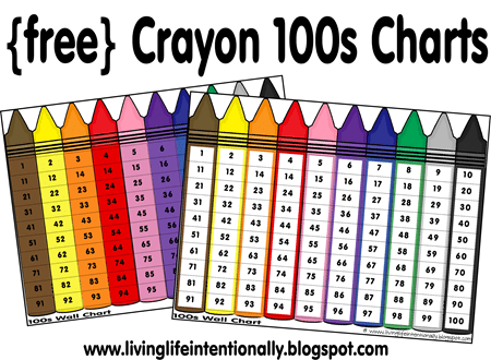Free Crayons Colors & 100s Chart Printables