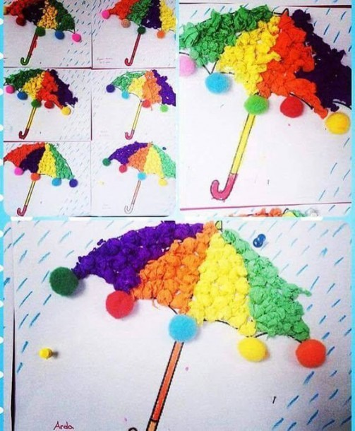 Crepe Paper Umbrella Craft