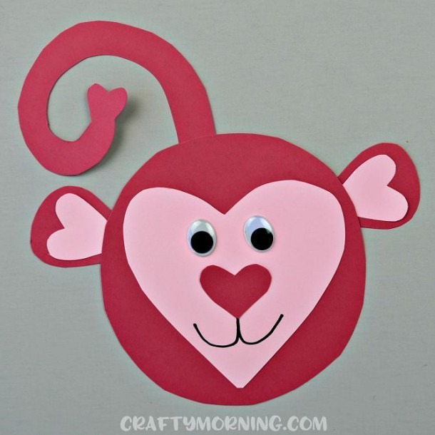Heart Shaped Monkey Valentine Craft