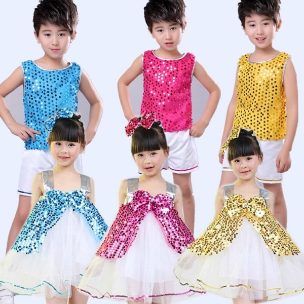 Kids Jazz Dance Costumes Sequined Girls Boys Stage Performance