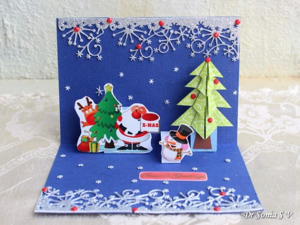 Cards ,crafts ,kids Projects  Pop Up Christmas Tree Card