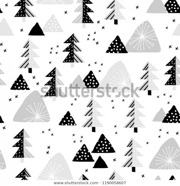 Snowy Forest Seamless Pattern Perfect Cards