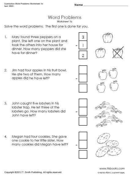 Subtraction Word Problems Worksheets 1b
