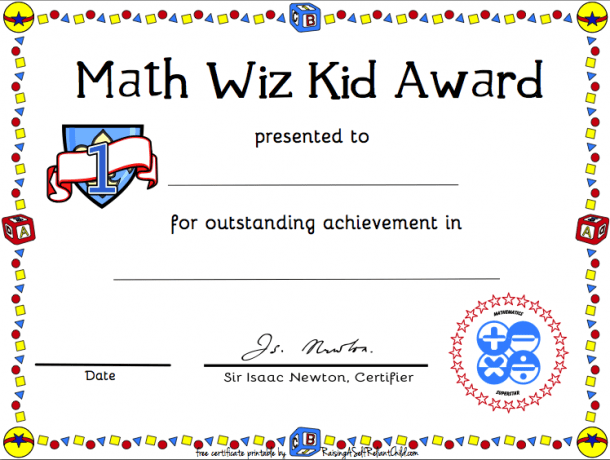 Free Printable Math Certificate Of Achievement (with Images