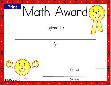 Certificates For Teachers  Mathematics Awards And Certificates