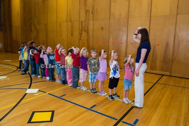 Students Lined Up In Front Of Teacher